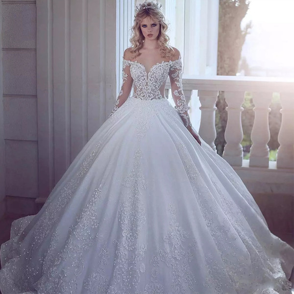 Luxury Sparkly Off The Shoulder Ball Gown Wedding Dresses Long Illusion Sleeve With Crystal and Sequin Wedding Gown Satin vestido de novia