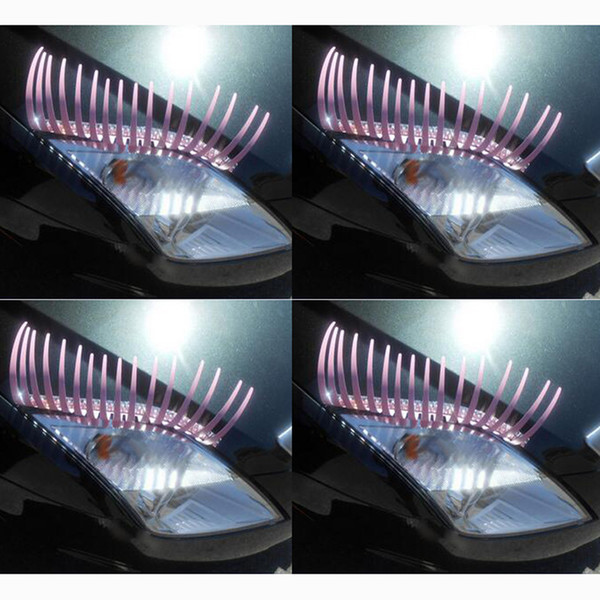 Color 3D Automotive Eyelashes Decals Wedding Parade Street Car Lights False Eyelashes Stickers