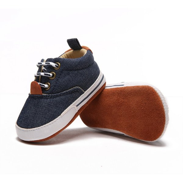 Newborn Baby Boys Crib Shoes Breathable Anti-Slip Safe Casual Canvas Shoes Sneakers Toddler Soft Soled First Walkers 0-18Month
