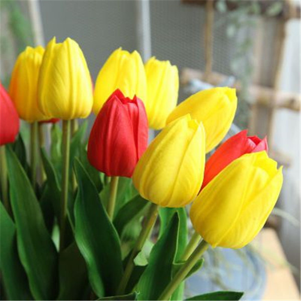 2019 New 10pcs/Lot Silk PU Tulips Artificial Flowers Real Touch Fake Mini Tulip for Home Wedding Decoration Flowers Bridal Bouquet H81