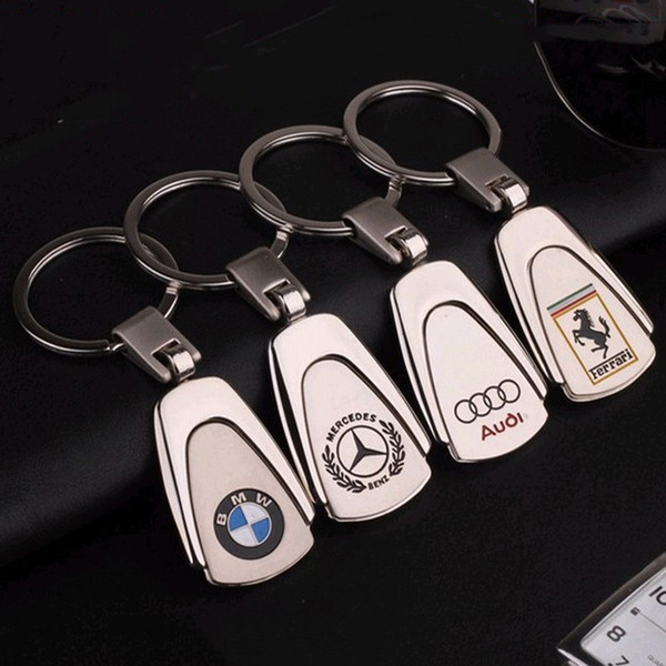2 Pieces 3D Metal Car Keyring Keychain For BMW Audi Auto Key Chain Car-styling Key Ring Automotive Keyfob Pendant for Gift Car Accessories