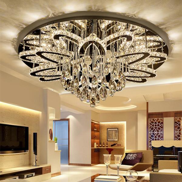 Control remoto moderno Lámpara LED regulable Lustre K9 Cristal Lámpara de techo LED de cromo inoxidable Lámpara de techo de lujo