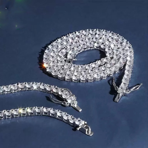 Cadenas de helado Collar de diseñador Cadenas Hip Hop Bling Joyas Hombres Plata de ley 925 Diamante de lujo Enlace de tenis Rapero Accesorios de moda