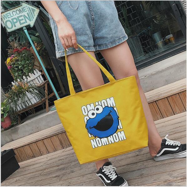 2019 nuovo fumetto stampa croce sezione quadrata femminile borsa grande capacità borsa a tracolla in nylon tote bag borsa delle donne