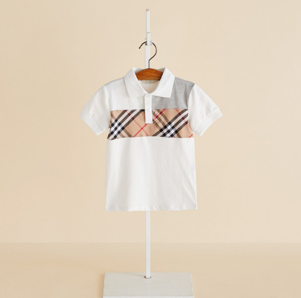 best selling Boys polo shirt kids plaid cotton breathable casual tops summer new children lapel short sleeve T-shirt kids designer clothes boy F6974