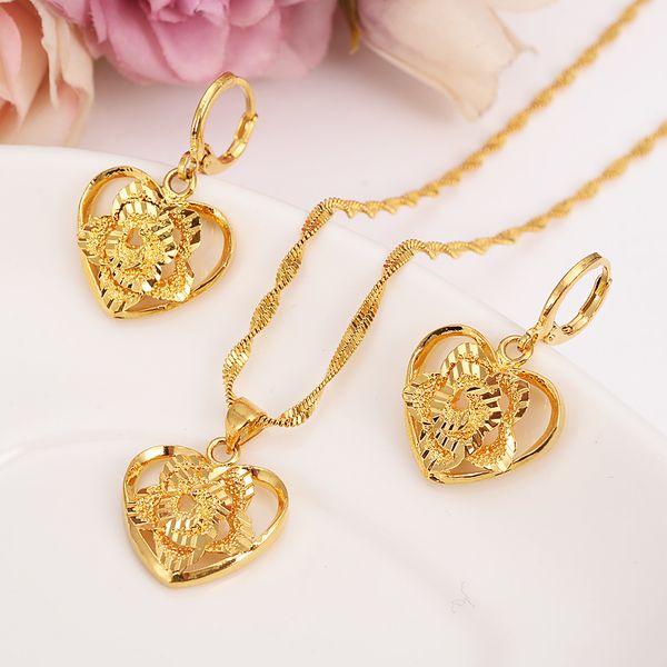 18 k Fine Solid Gold GF Outline border heart flower Europe women Jewelry Sets bridals Wedding jewelry Gift Dubai pendnat earring