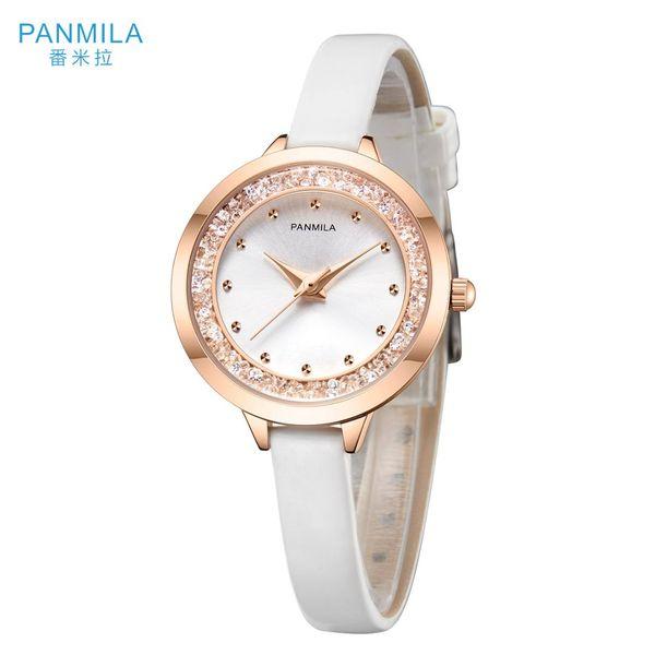 PANMILA Basit Moda Kadın İzle hodinky Kadınlar Kuvars İzle Su geçirmez PU Kayışı Casual Saat Kadınlar Bilezik P0211