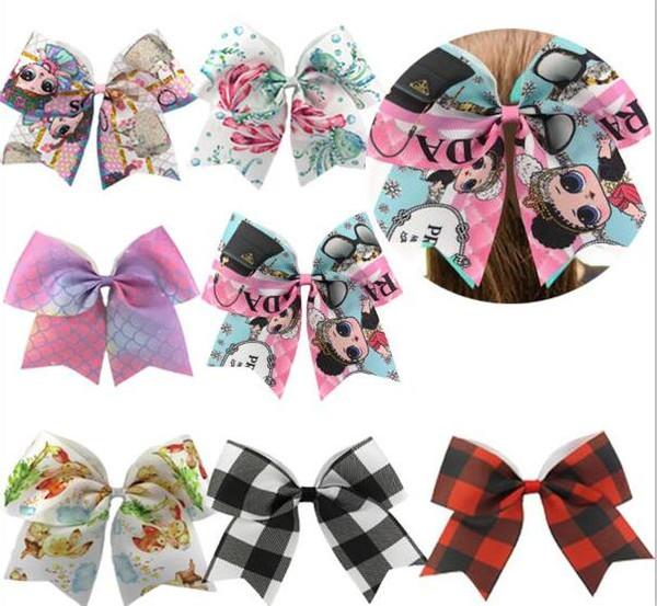 Hot 7.5 '' Grande Elástico Cheer Bow para Meninas Colorido Impresso dos desenhos animados Hairbows Rabo de Cavalo Crianças Acessórios Para o Cabelo 15 pcs