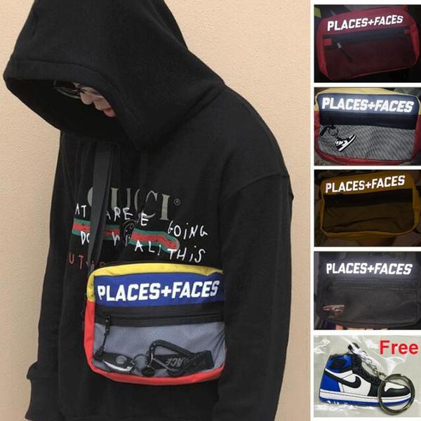 2M Reflective PLACES FACES Hip-Hop Messenger Bag P+F Women Men Fashion Canvas Mesh Chest Shoulder Bag Casual Crossbody