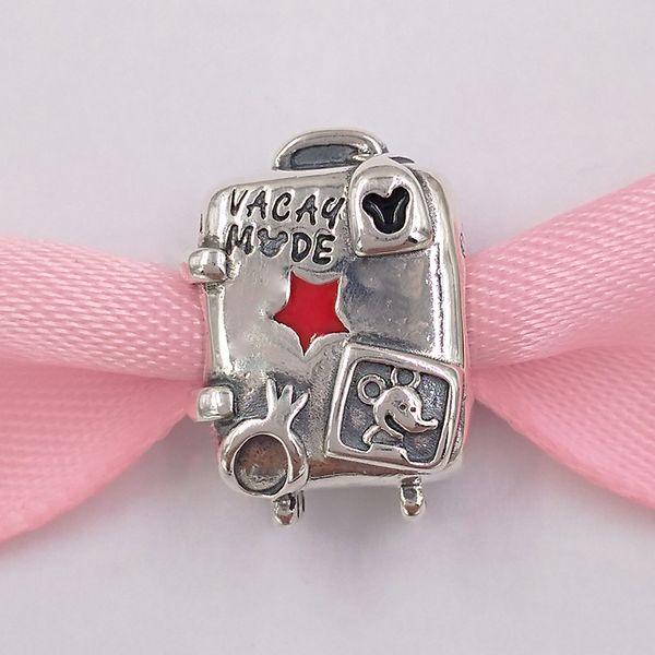 Auténticas cuentas de plata esterlina 925 Disny, Miky y Miny - Encantos de maleta en modo Vacay Se adapta a las pulseras de joyería de estilo europeo Pandora Neckla