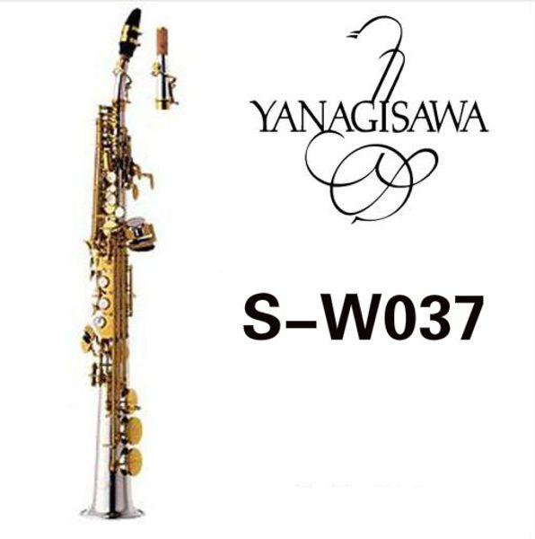 YANAGISAWA W037 B(B) Soprano Straight Tube Saxophone Brass Silver Plated Body Gold Lacquer Key B Flat Sax With Mouthpiece Case