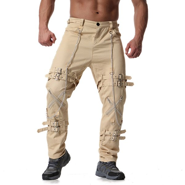 Overalls Trend Men's Tactical Pants Youth Male Personality Zipper Decor Stretch Large Size Casual Trousers Plus Size L-6X 7F2181