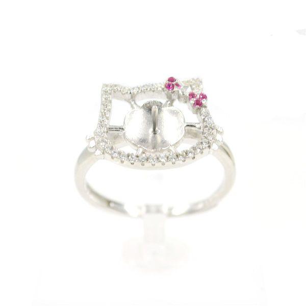 S925 Anello di perle d'argento Accessori Perle di montaggio per anelli Bocca cava regolabile Fai-da-te Cat e Kitty Ragazza Stile PS4MJZ045