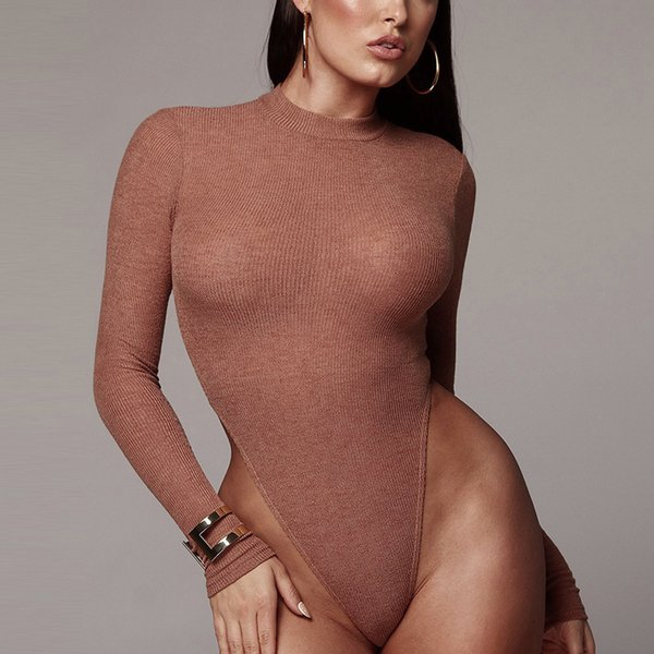 Pholeey Women Solid Sexy Knitted Thong Suit Winter Warm Long Sleeve Bodysuit Cotton Half High Neck Skinny Sweater Body Suit Y190424