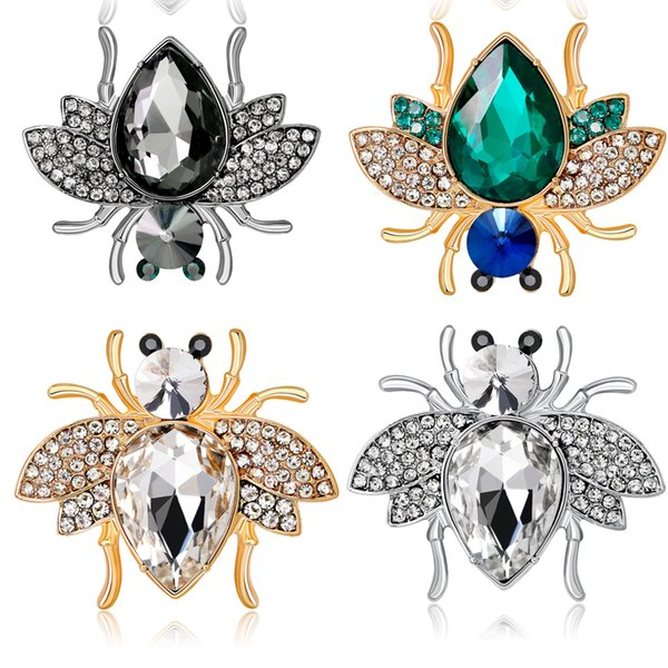Ajojewel Golden/Silver Big Green/Grey/Clear Crystal Spider Brooches for Women Animal Pin Fashion Charm Party Accessory