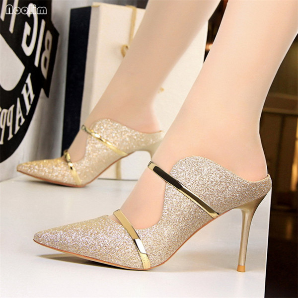 NOOLIM European Style Fashion Sexy Nightclub Women's Shoes High Heels Outside Hollow Sequined Cloth Summer Women Slippers 1788-1