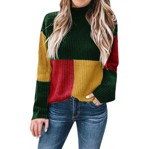 colorblock turtleneck women sweater long sleeve knitted pullover jumper loose fluffy womens winter fashion 2019