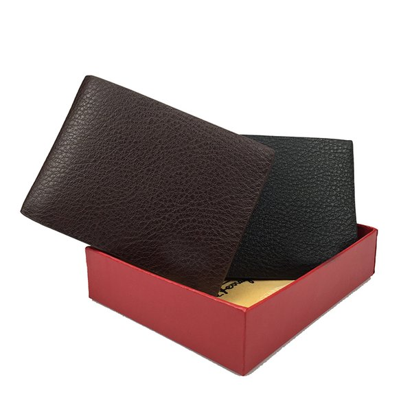 Factory direct men's mini wallet business card holder dollar wallet cowhide material wallet two color optional with high-end gift box