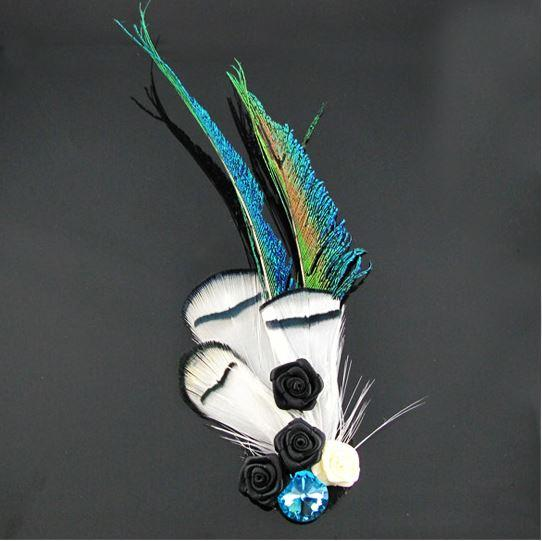 Customized personality brooch handmade silk rose peacock feather men's wedding business brooch