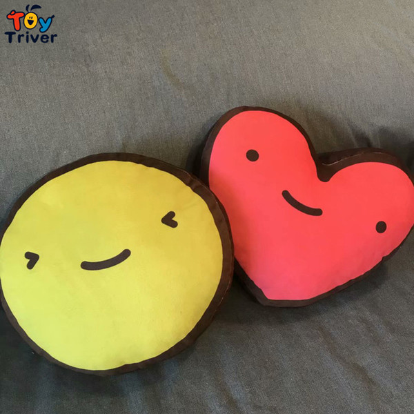 Emoji Smiley Face Red Love Heart Peluche Triver Almohada Cojín Muñeca Kawaii Niños Novia Regalo de Cumpleaños Inicio Dormitorio decoración