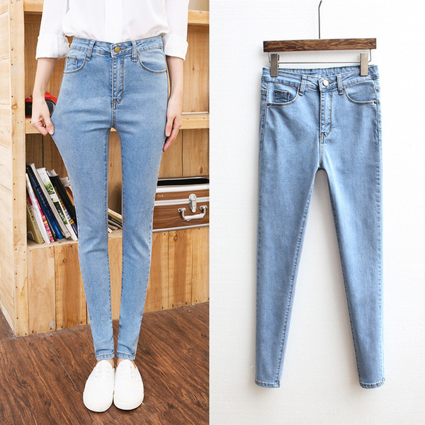 Jeans for Women High Waist Skinny Mom Jeans Plus Size Sky Blue Pencil Pants Black Trousers for Women Jeans Femme vaqueros mujer S19713