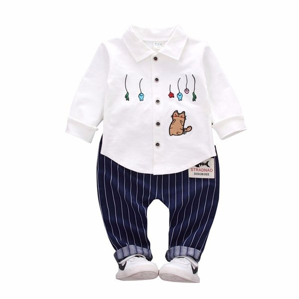 2019 Spring Autumn Fshion Baby Boys Cotton Clothes Embroidery Cartoon Cats Lapel Shirt Pants 2Pcs/Sets Infant Kids Casual