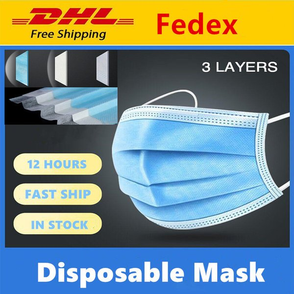 best selling DHL Free Shipping 200 pcs Disposable Face Masks Thick 3 Ply Breathable Masks with Earloops Salon Home Comfortable dust-proof outdoor Mask