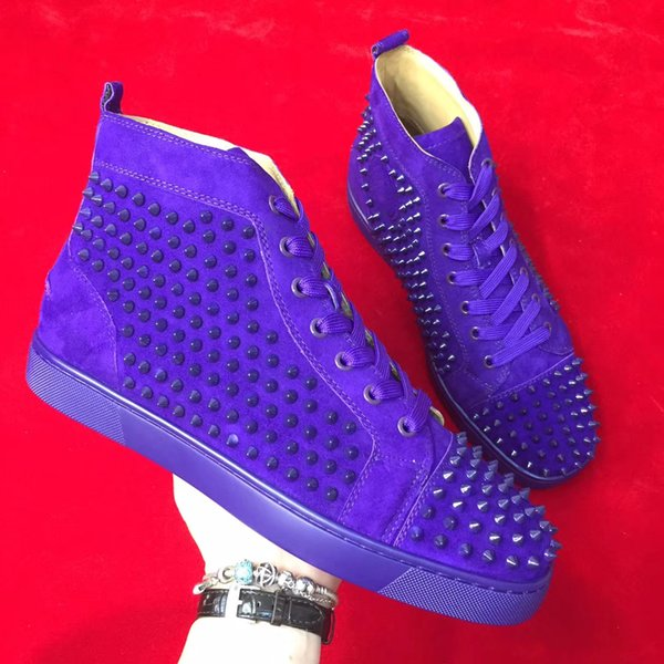 Mens womens full spikes best quality 35-48 size high top red bottom outside walking classic purple couple style sneaker shoes