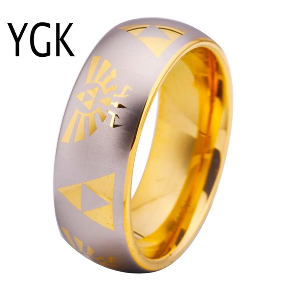 Free Shipping Usa Uk Canada Russia Brazil Hot Sales 8mm Golden Dome Comfort Fit Legend Of Zelda New Men's Tungsten Wedding Ring J190714