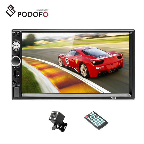 "Podofo 2 Din Car Radio 7"" Bluetooth Stereo Multimedia Car DVD player Autoradio MP3 MP5 Touch Screen Auto Radio + 4 LED Rear View Camera"