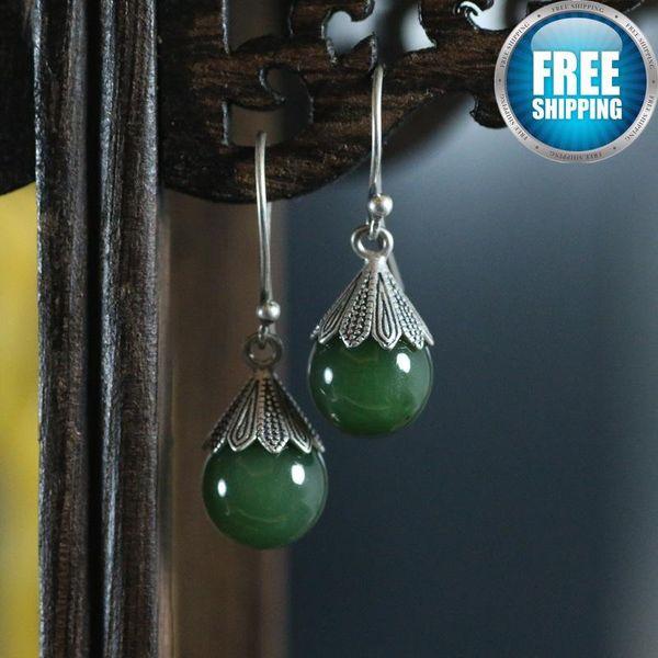 925 Pure Silver Natural Jasper Ball Lantern Woman Nation Wind Temperament Grace Ear Rings Topaz Studs Earrings Crystal