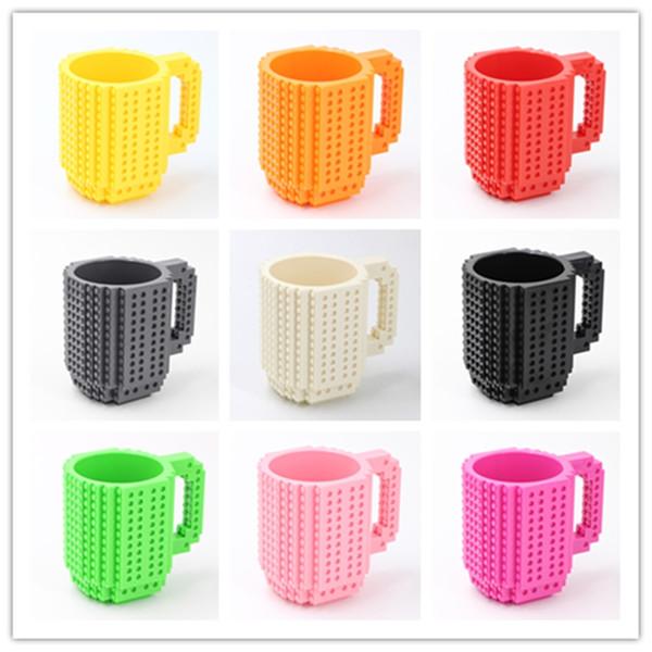 LEGO créatif 350 ml tasses personnalisées tasses avec des blocs de construction assemblés LEGO 350ml coloré lait assembler culbuteurs café mugs A07