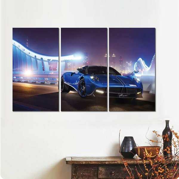 3 sets pagani huayra blue night canvas print arts pictures for dining room decor