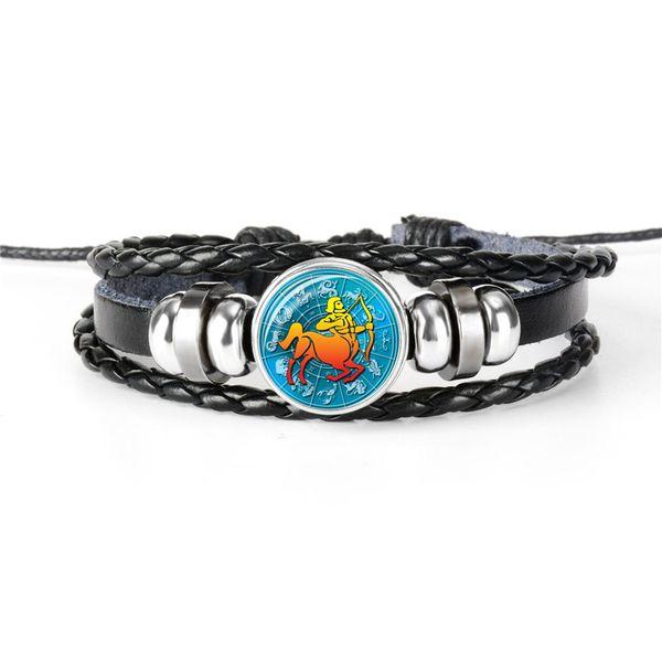 Silver Fashion 12 Horoscope Zodiac Sagittarius Time Gem Glass Cabochon Cuff Bracelet for Women Men Cowhide Leather Rope Beaded Charm Jewelry