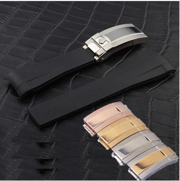 Горячая Марка резиновый ремешок для ROLEX SUB 20 мм новый водонепроницаемый ремешок смотреть Band Часы Аксессуары Раскладывающаяся застежка розовое золото пряжка