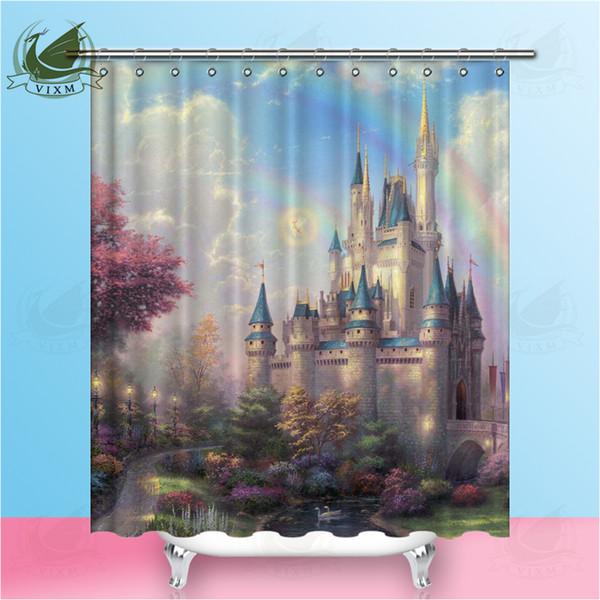 Vixm Gorgeous Castle Rainbow Sky European Style Shower Curtains Polyester Fabric Curtains For Home Decor