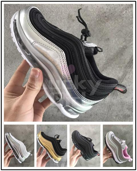 Nike Air Max 97 Baby Kinder Laufschuhe Kissen Kunststoff Trainingsschuhe Jugend Jungen Mädchen Großhandel Outdoor Kinder Laufschuhe Turnschuhe