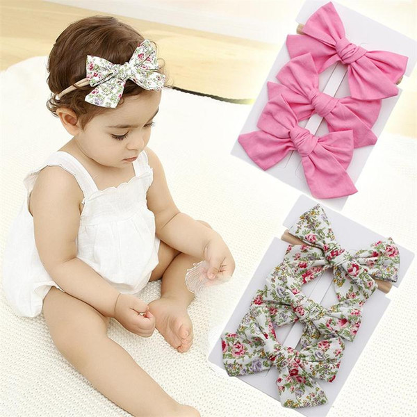 3Pc Cute Newborn Kid Elastic Floral Headband Hair Girl baby Bowknot Hairband Set