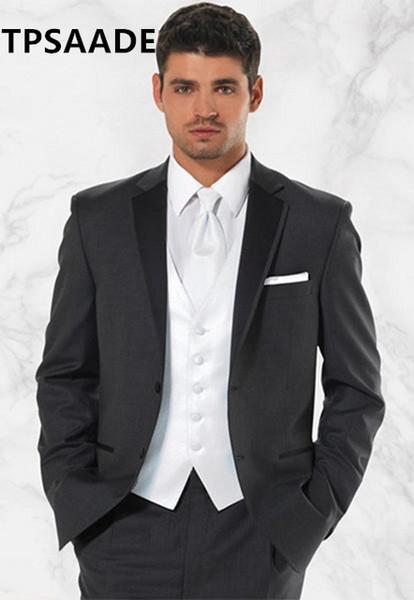 White Man Wedding Groom Suits Jacket Ring Boy Slim Tuxedos Formal Prom