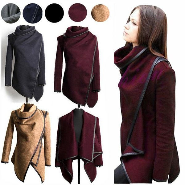 Fall/Winter Clothes for Women 2018 New European and American Wool & Blends Coats Ladies Trim Personality Asymmetric Rules Short Jacket Coats