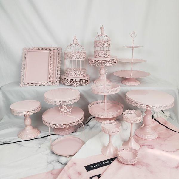 Birdcage Metal Cake Stand Holder 15 Pcs Set Cupcake Serving Stand Display Rack Birthday Party Wedding Decoration Pink White