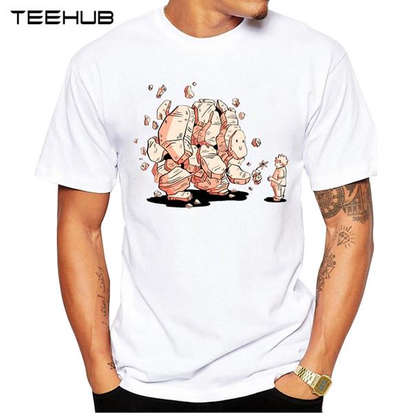 Os Recém-chegados 2019 TEEHUB Cool Stone Golem Design Moda Masculina Impresso T-Shirt de Manga Curta O-pescoço Tops Tee Hipster