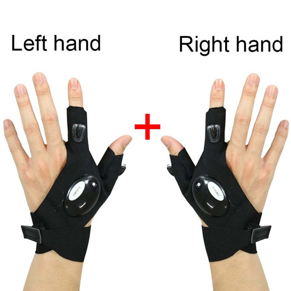 top popular 1Pair Right and Left Fingerless Lighting Glove LED Flashlight Night Lamp Car Repair Rescue Tool Outdoor Hiking Fishing Gear 2021