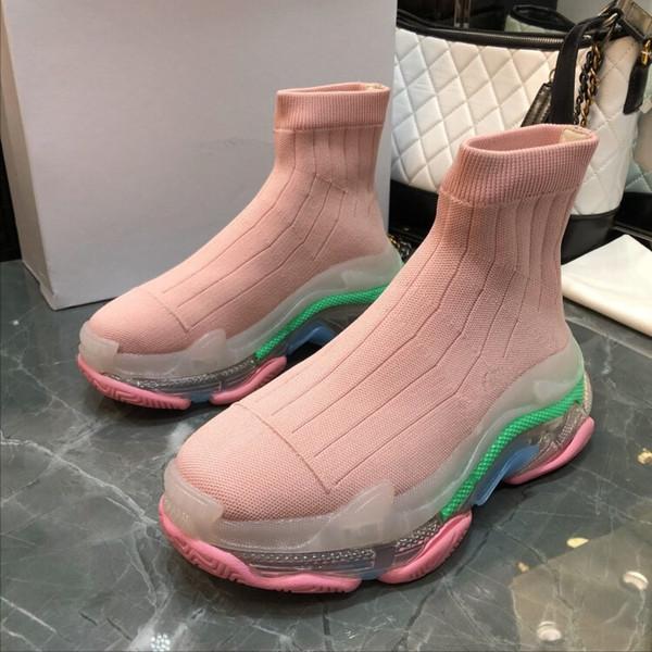 Bonne Qualité En Gros Vitesse Trainer Casual Chaussure Homme Femme Sneaker Pas Cher Avec La Boîte Stretch-Knit Casual High Top Designer Chaussures bll180102002
