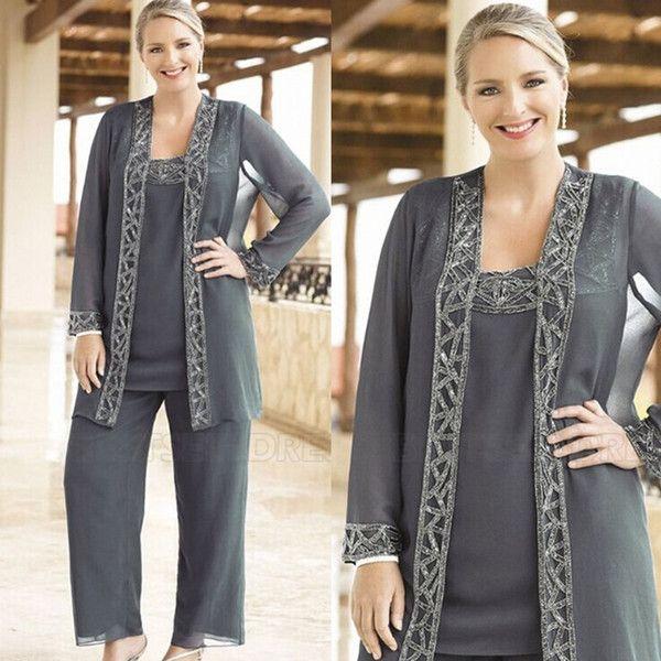Zarif Payetli 2019 Anne Gelin Pant Ceketler Ile Suits Gri Şifon 3 Parça Düğün Konuk Elbiseler Artı Boyutu madrinha