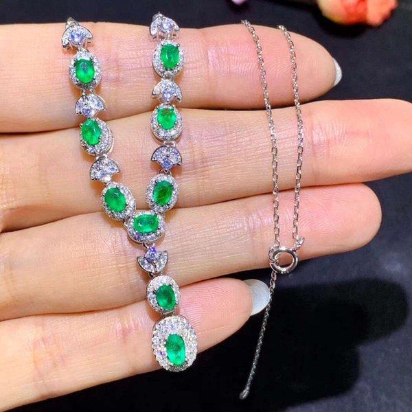 Натуральный зеленый Изумрудный Ожерелье Природный Драгоценный Камень Ожерелье S925 Щепка моды полукруг вентилятор женщины ну вечеринку подарок Ювелирные Изделия
