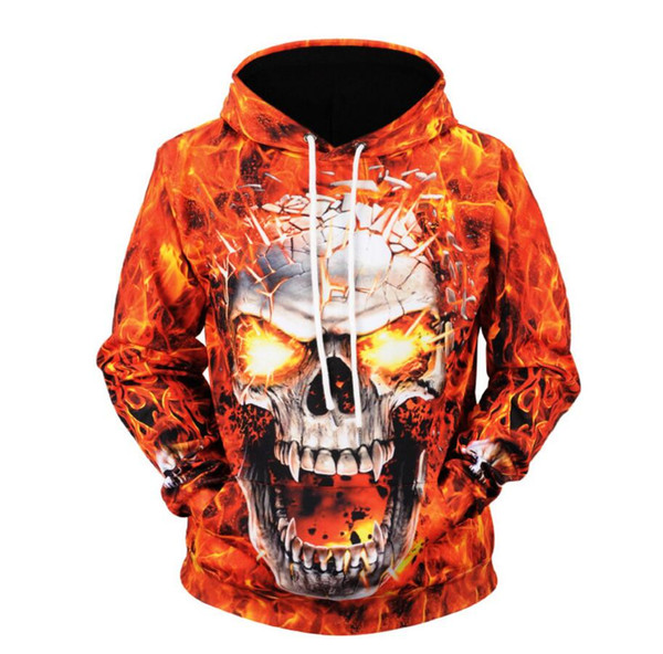 New Men's Jacket skull Print Hoodie European Street Fashion Sweater Fall Winter Sports Jacket Men M-3XL Hotselling Sweatshirts coats