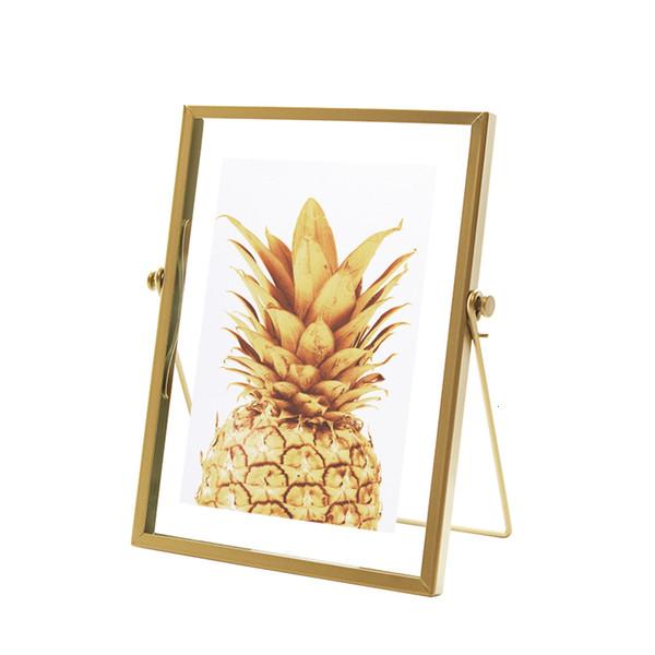 Oro metal y vidrio marco de fotos plegable de alambre de escritorio marcos de cuadros de Viento Metal en retratos y paisaje SH190918