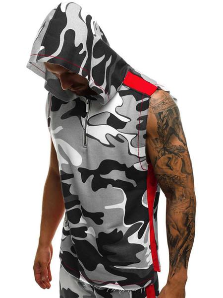 Hot Hommes manches Hoodies 3D Imprimer Fitness Sports Gilet Hommes Coton Zipper Hoodies Vêtements pour hommes Mode