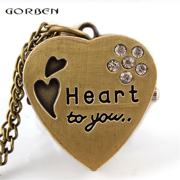 Ich liebe dich Herz Taschenuhr Quarz Halskette Kristall Anhänger Uhr Bronze mit Fob Kette Uhren für Frauen Mädchen Geschenk vorhanden